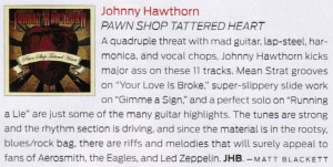 Guitar Player Magazine review of Pawn Shop Tattered Heart